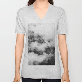Fog Forest in Black and White – Landscape Photography Unisex V-Neck