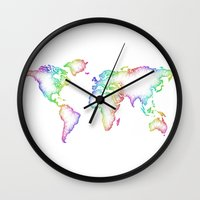 map of the world Wall Clocks featuring World map by David Zydd