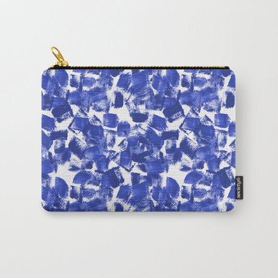 Azia - bright blue painterly abstract brushstrokes painting trendy minimal modern monochrome indigo Carry-All Pouch