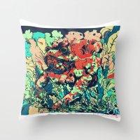 camo Throw Pillows featuring CAMO by NimbusBlack