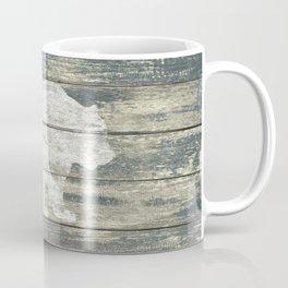 Rustic White Bear on Teal Wood Lodge Art A231c Coffee Mug