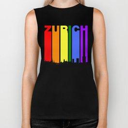 Zurich Switzerland Gay Pride Rainbow Skyline Biker Tank