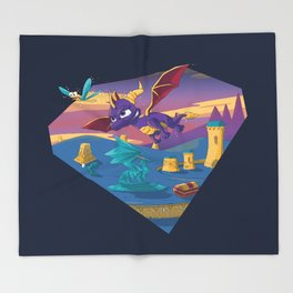 Spyro The Dragon Throw Blanket