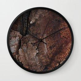 burned wood texture Wall Clock