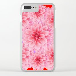 PINK DAHLIA FLOWERS IN RED COLOR ART Clear iPhone Case