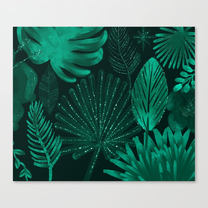 Emerald botanical - tropical ferns and palms Canvas Print