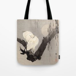 Egrets in a Tree at Night Tote Bag