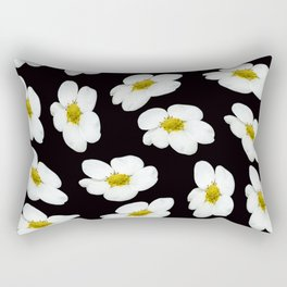 White flowers on a black background #decor #society6 #buyart Rectangular Pillow