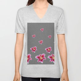STRAWBERRY COLORED ASIAN LILIES GREY ART Unisex V-Neck