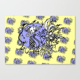 Blue and Yellow Cat Pattern Canvas Print