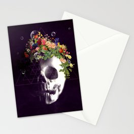 Skull with flowers no1 Stationery Cards