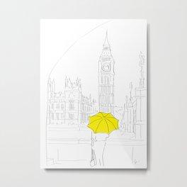 Yellow Umbrella Girl in London Metal Print