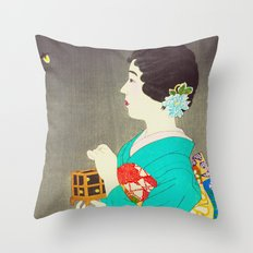 Mushikago - Insect Cage - Japanese Art Throw Pillow