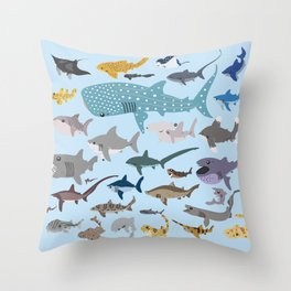 I Heart Sharks Throw Pillow