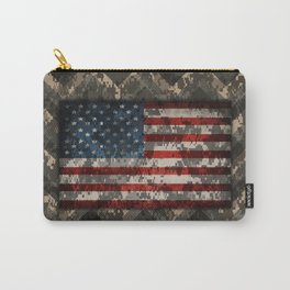 Digital Camo Patriotic Chevrons American Flag Carry-All Pouch