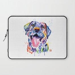 Black Lab Colorful Watercolor Pet Portrait Painting Laptop Sleeve