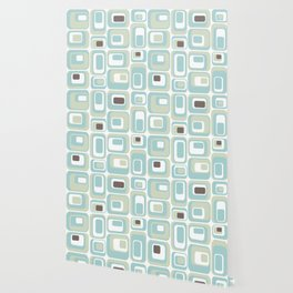 Retro Rectangles Mid Century Modern Geometric Vintage Style Wallpaper
