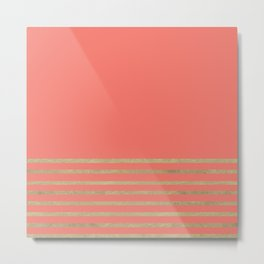 Peach and Gold Stripes Metal Print