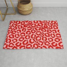Bold Modern Red Pink Leopard Animal Print Rug