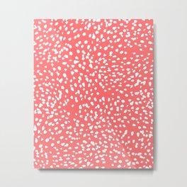 Claudia - abstract minimal coral dot polka dots painterly brushstrokes Metal Print