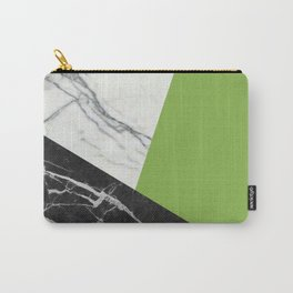 Black and white marble with pantone greenery Carry-All Pouch