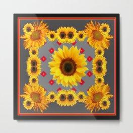 Western Blanket Style Sunflowers Grey Art Metal Print