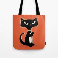 Suspiciously Cute Black Cat Tote Bag