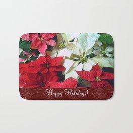 Mixed color Poinsettias 1 Happy Holidays S5F1 Bath Mat