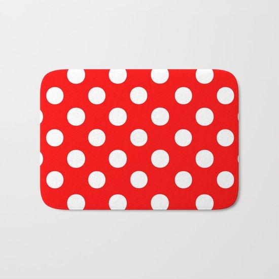 Polka Dots (White/Red) Bath Mat