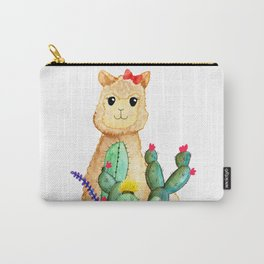 Watercolor Alpaca Llama Fluffy Cute with Cactus & Succulents Carry-All Pouch