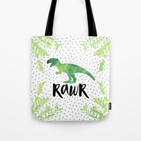 trex Tote Bags featuring Rawr by Elisabeth Fredriksson