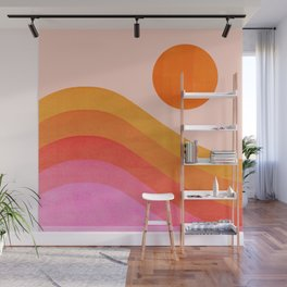 Abstraction_SUNSET_OCEAN_COLOR_POP_ART_Minimalism_009D Wall Mural