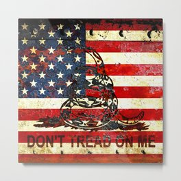 Don't Tread on Me - American Flag And Gadsden Flag Composition Metal Print