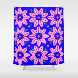 Flower Power 2 Klein Blue Shower Curtain