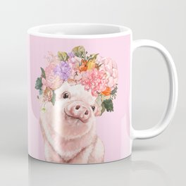 Baby Pig with Flowers Crown Coffee Mug