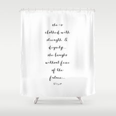 SHE IS - B & W Shower Curtain