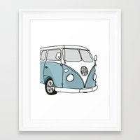 vw Framed Art Prints featuring VW Camper by 1and9