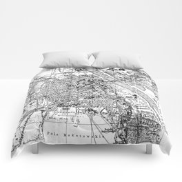 Vintage Map of Warsaw Poland (1914) BW Comforters