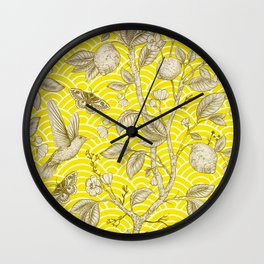 Lemons Pattern (yellow) Wall Clock