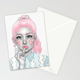 Pastel girl Stationery Cards