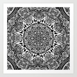 Black and white Mandala Art Print