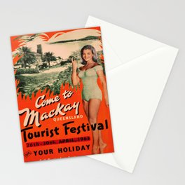 retro iconic Mackay Queensland poster Stationery Cards