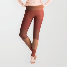 Warm Santa Fe Stripes - Variable Stripe Pattern in Dusky Rust Adobe Clay Earth Tones  Leggings