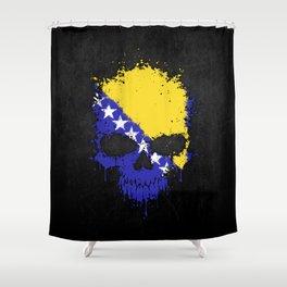 Flag of Bosnia - Herzegovina on a Chaotic Splatter Skull Shower Curtain