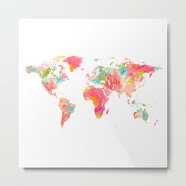 world map pink floral watercolor Metal Print