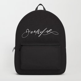 Yennefer name sign white Backpack