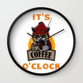 It's Coffee O'Clock Content Cat Wall Clock
