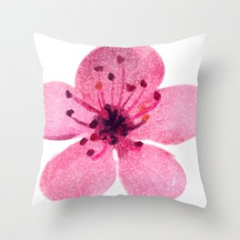 Watercolor cherry blossom Throw Pillow