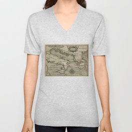Vintage Map of Italy and Greece (1587) Unisex V-Neck