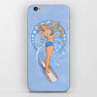 nouveau iPhone & iPod Skins featuring Surf Nouveau by jewelwing